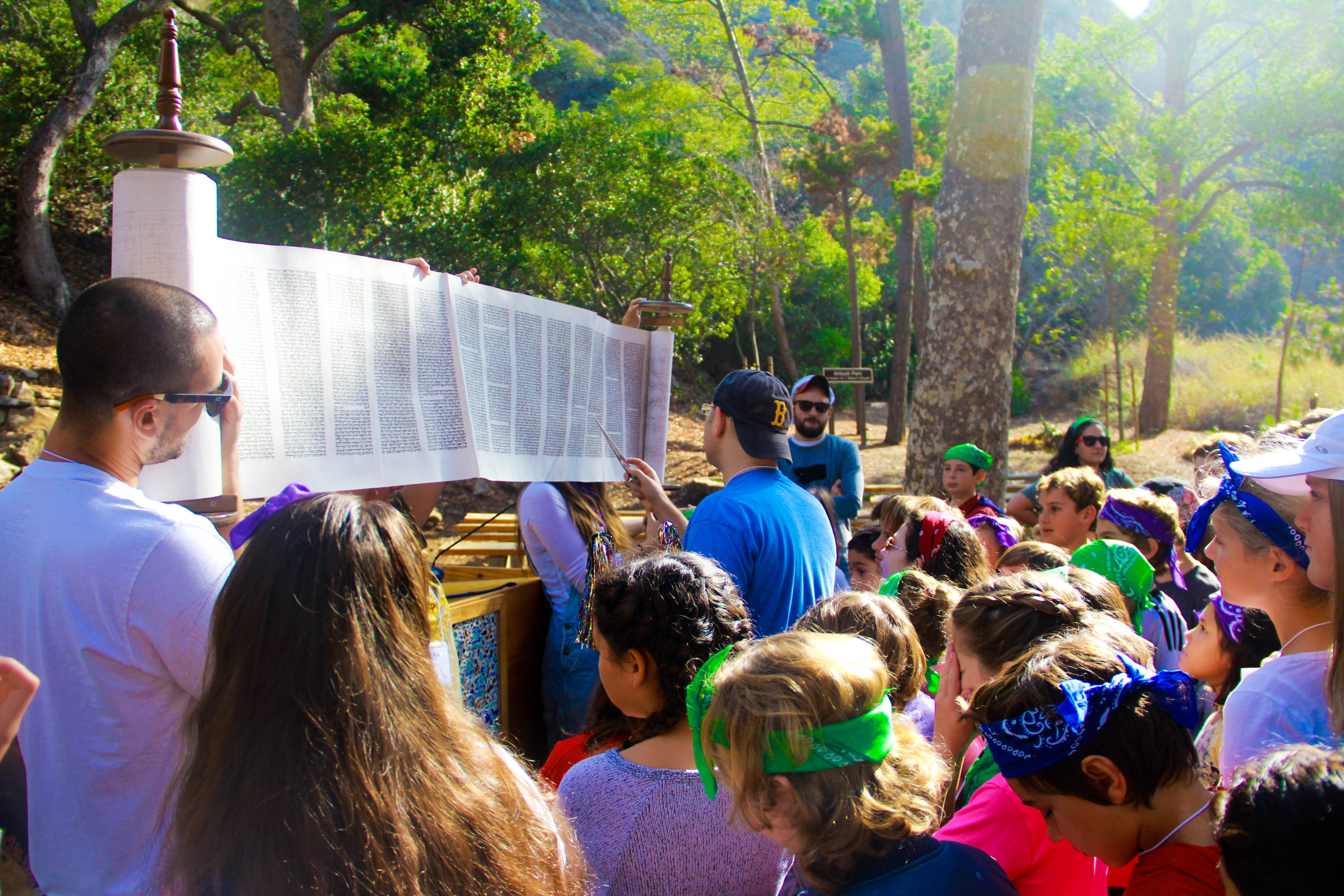 religious school retreat at camp with torah